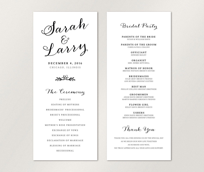 Catholic Wedding Invitations: Modern Wedding Program, Elegant Wedding Program, Catholic
