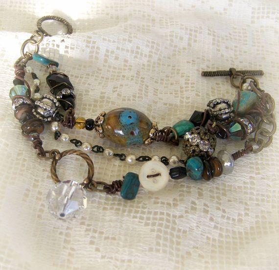 La main fil enveloppé Bracelet Bracelet altéré Turquoise Vintage Vintage Gypsy Bohème bijoux Bracelet