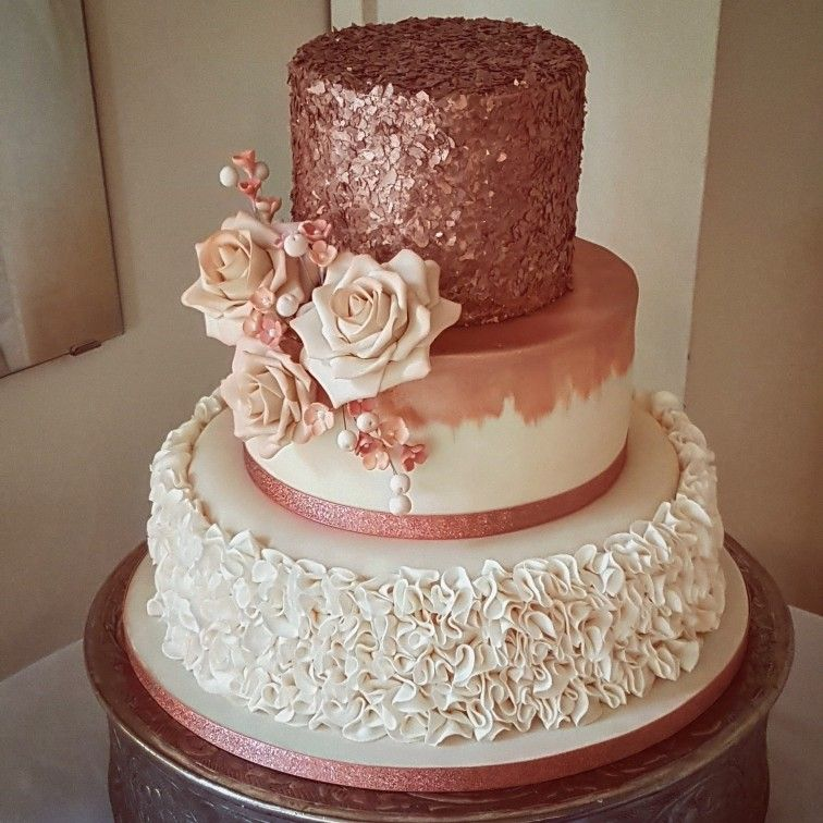 Rose Gold And Blush Pink Wedding Cake With Images Rose Gold