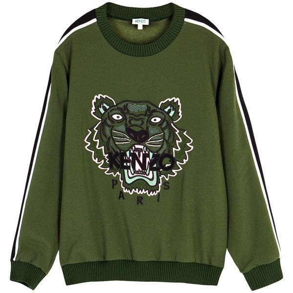 1ae94af28 KENZO Tiger-embroidered Crepe Sweatshirt - Size L ($470) ❤ liked on  Polyvore featuring tops, hoodies, sweatshirts, embroidery top, green  striped top, ...