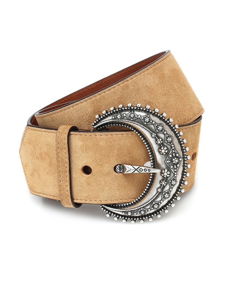 Taupe and Turquoise Embossed LEather Wide Belt