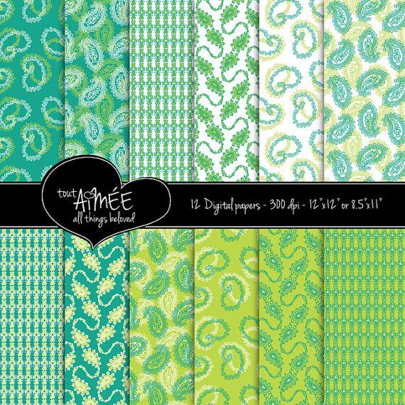 Digital Scrapbooking Paper Paisley Designs In Teal Lime Green