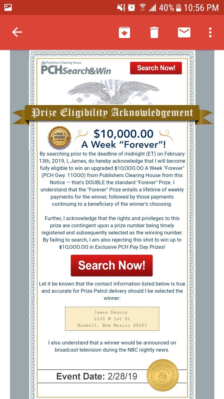 PCH PRIZE ELIGIBILITY ACKNOWLEDGEMENT I RROJAS CLAIM MY