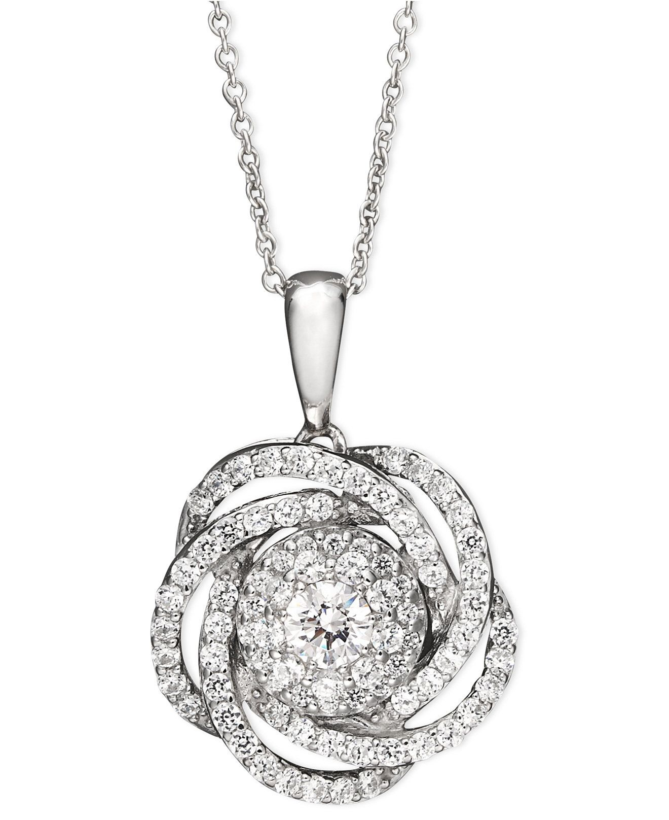 Miadora signature collection 14k white gold 1ct tdw diamond double row - Wrapped In Love Diamond Knot Pendant Necklace In 14k White Gold 1 Ct T W