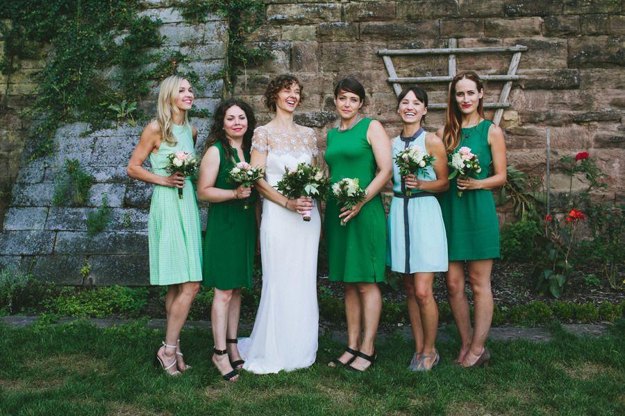 German Countryside Wedding Mismatched green bridesmaid