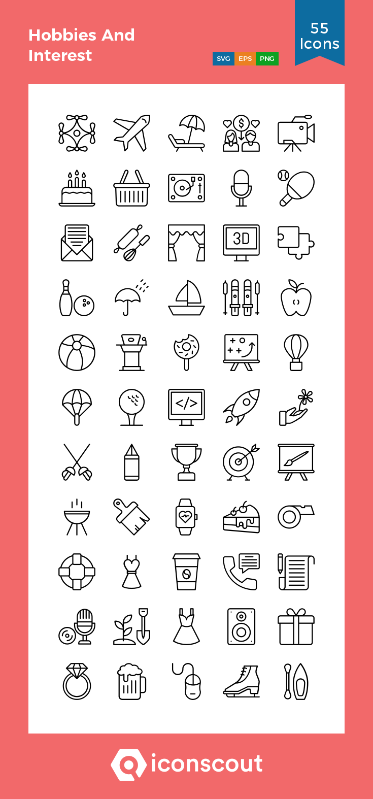 Download Hobbies And Interest Icon Pack Available In Svg Png Eps Ai Icon Fonts Line Icon Icon Pack Hobbies And Interests