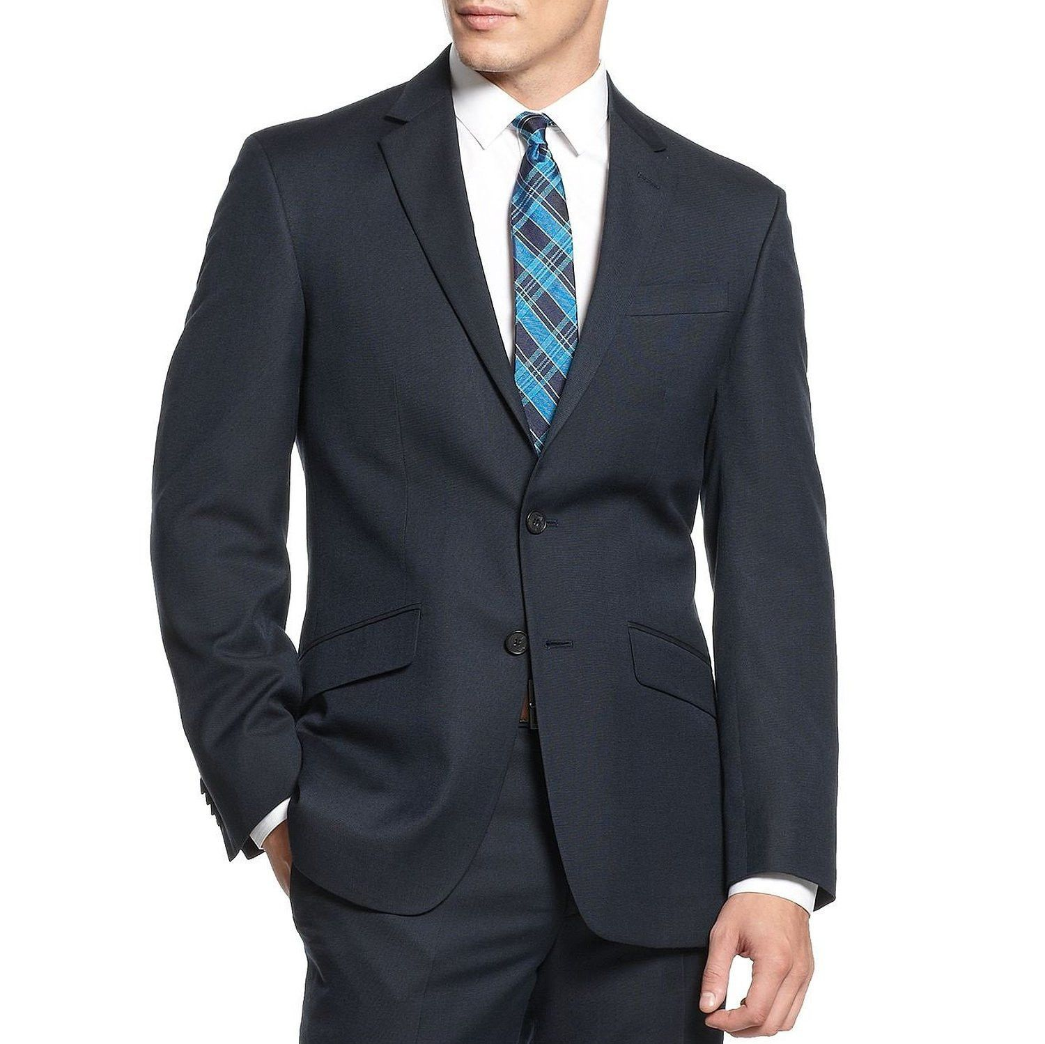 Kenneth Cole Unlisted Navy Pindot Two Button New Men's Blazer (42 Long)