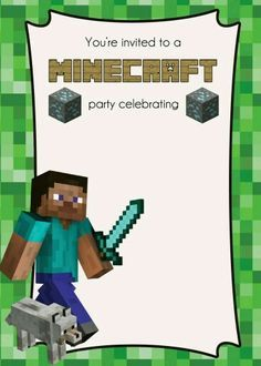 Invitation Template Minecraft Party Pinterest Invitation - Party invitation template: minecraft birthday party invitations templates