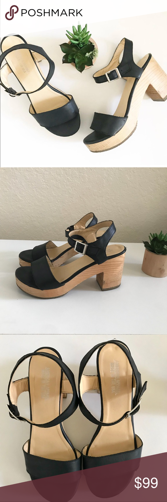 a81f395ccaf American Apparel Wooden Heel Sandal The iconic   coveted ORIGINAL American  Apparel Wooden Heel Sandal in black leather   wood. Made in the USA. Size 7.
