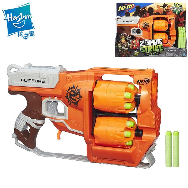 Licensed Nerf Gun Zombiestrike Flipfury Elite Blaster With 24 Darts Bullet Pistol  Kids Toys For Children