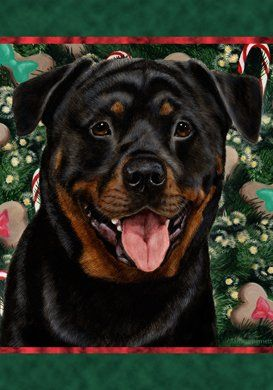 Rottweiler Best Of Breed Holiday Treats Christmas Large Flag