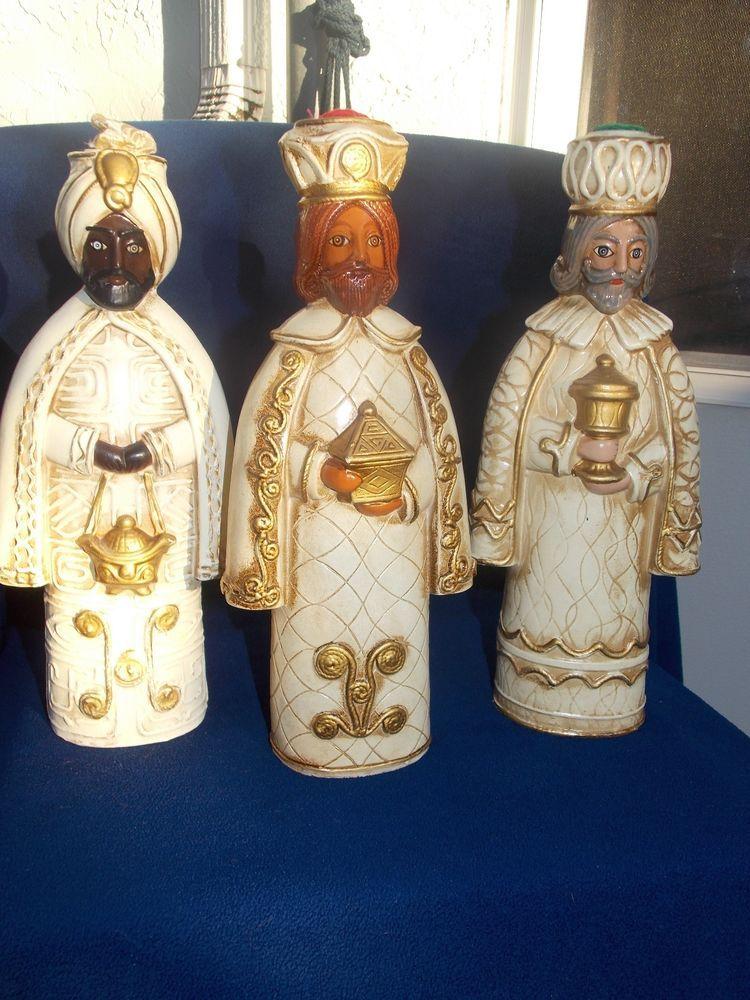 VINTAGE NATIVITY THREE KINGS (WISE MEN ) . CHRISTMAS DECOR . 11 inch tall