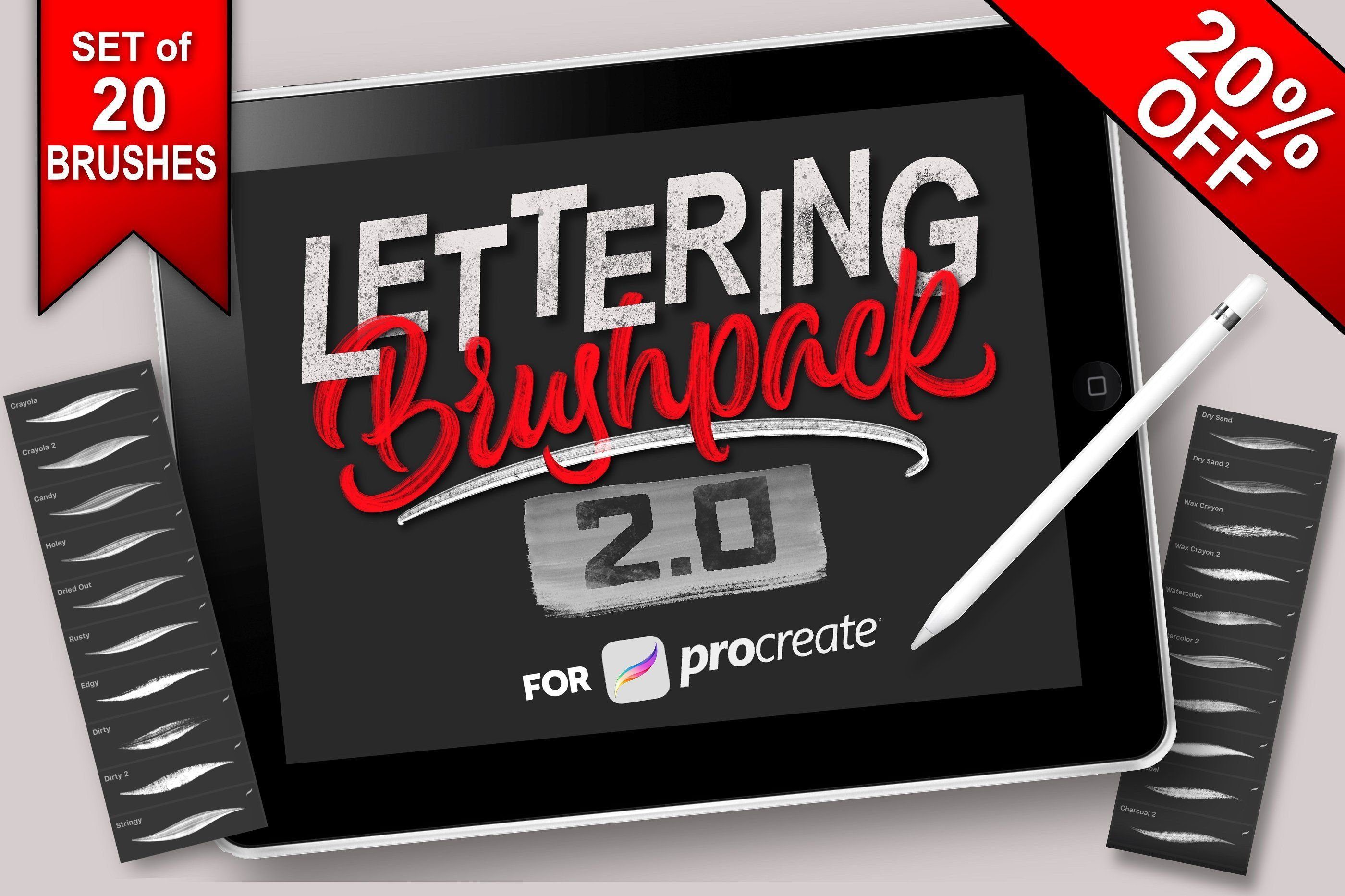 Download Procreate Lettering Brush Pack. Includes 20 of my favorite ...