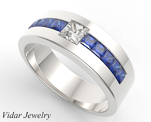 Princess Cut Blue Sapphire and Diamond Wedding Band For Mens
