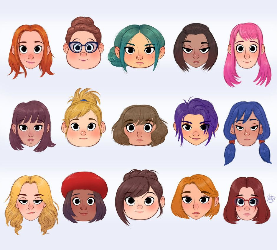 Faces And Hairstyles 2 By Luigil Character Design Animation Cartoon Character Design Cartoon Hair