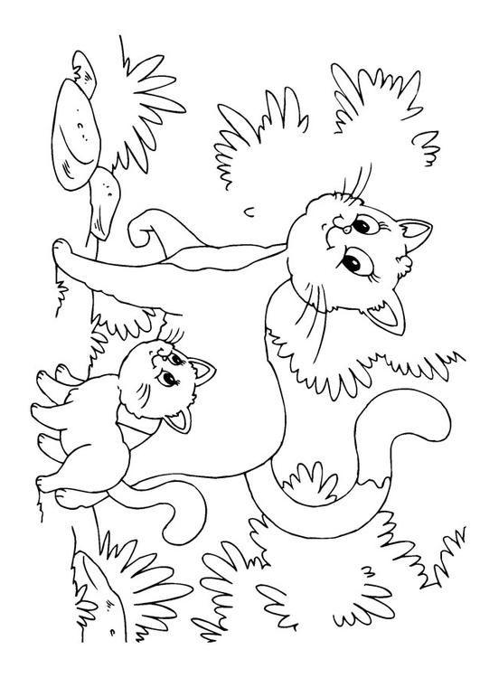 Malvorlage Katze und Kätzchen Ausmalbild 22643