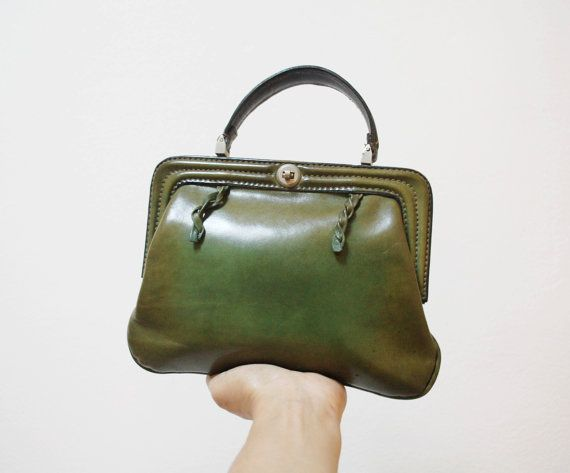 40s little leather bag / Vintage olive green purse / italian ...