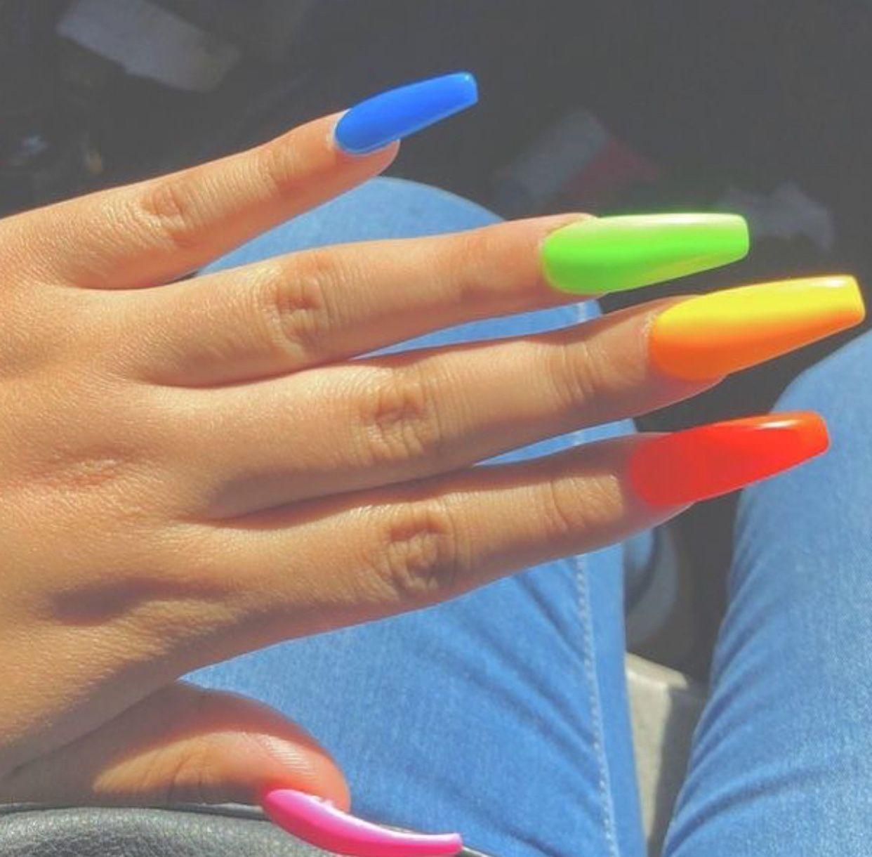 Nylawitnojuice Rainbow Nails Acrylic Nails Cute Nails