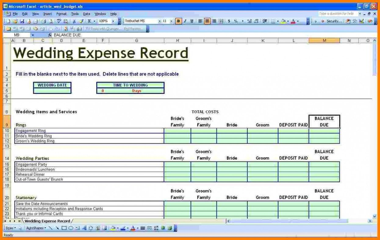 The Biggest Contribution Of Excel Wedding Budget Template