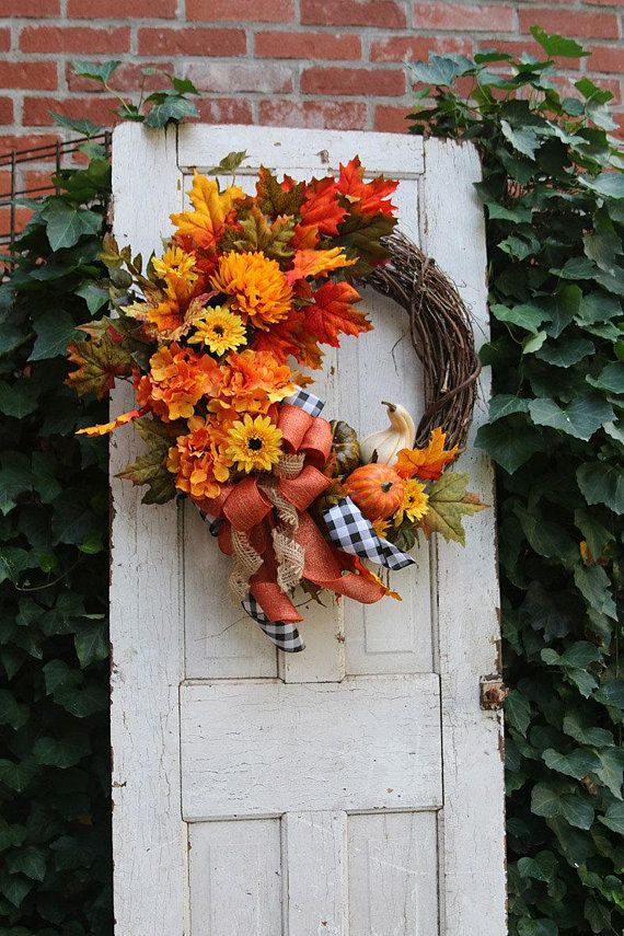 Photo of Items similar to Fall Wreath with gourds and pumpkins for front door, Autumn wreath, Fall door wreath, Farmhouse Fall wreath, Rustic Country decor on Etsy