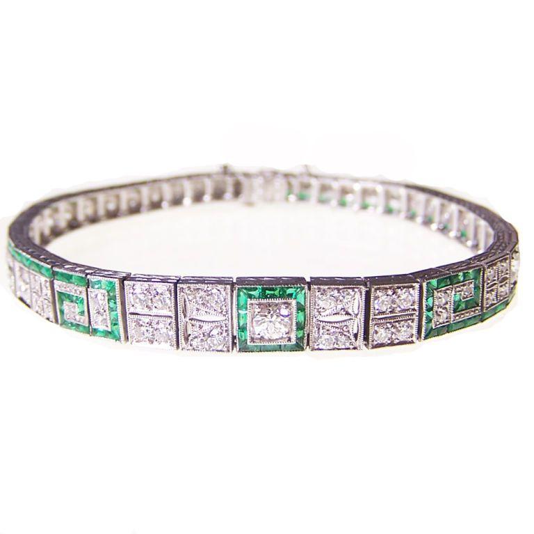 Art Deco Emerald & Diamond Bracelet | From a unique collection of vintage more bracelets at https://www.1stdibs.com/jewelry/bracelets/more-bracelets/