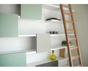 From Ontwerpduo - looks like everyone is doing the white shelfs/coloured cupboards combo now - the future looks good!