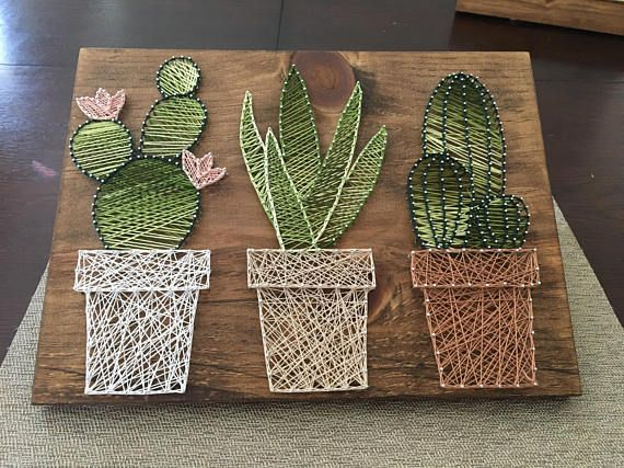 cactus garden string art suculent string srt home. Black Bedroom Furniture Sets. Home Design Ideas