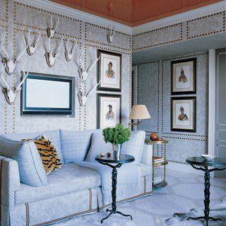 Chic Coles Nail Head Extravaganza Upholstered Walls Interior Elle Decor