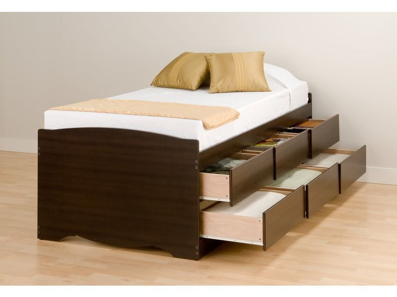 Beds With Drawers Part - 22: Natural Twin Platform Beds Drawers Design Ideas With Charming Decor