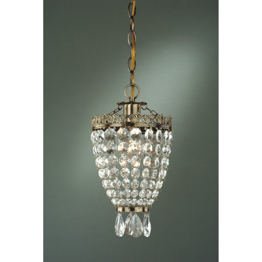 Laura Ashley Greenwood - 1 Light Mini Pendant Lighting Fixture -  Antique Brass with Clear Glass Crystals - B9198 Don't love the brass but it's $169.40