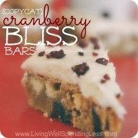Starbucks Copycat Cranberry Bliss Bars | Easy Copycat Recipe #cranberryblissbars Got a craving for Starbucks' famous Cranberry Bliss Bars? Packed with white chocolate and dried cranberries, this homemade version is just as yummy but much easier on your wallet. Plus the browned butter cream cheese icing is just ahhh-mazing! YUM! #cranberryblissbars Starbucks Copycat Cranberry Bliss Bars | Easy Copycat Recipe #cranberryblissbars Got a craving for Starbucks' famous Cranberry Bliss Bars? Packed