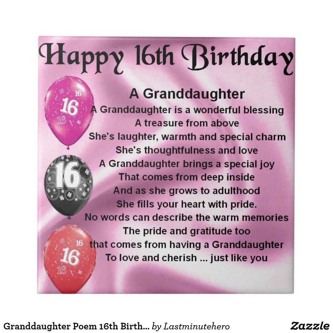 Granddaughter Poem 16th Birthday Ceramic Tile