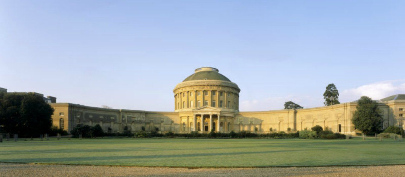 Wide view of the front of Ickworth House