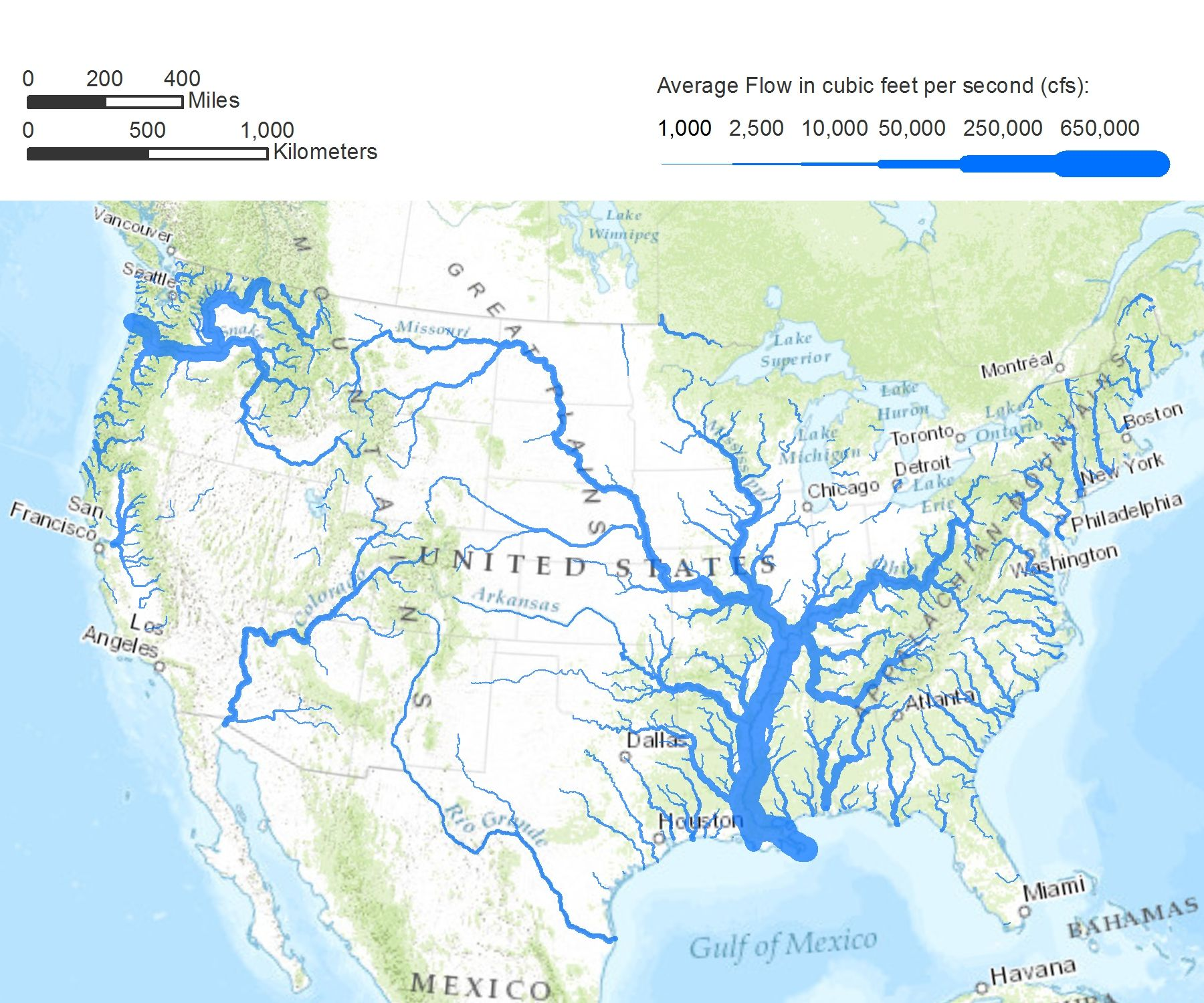rivers in the continental united states drawn with line width proportional to flow rate