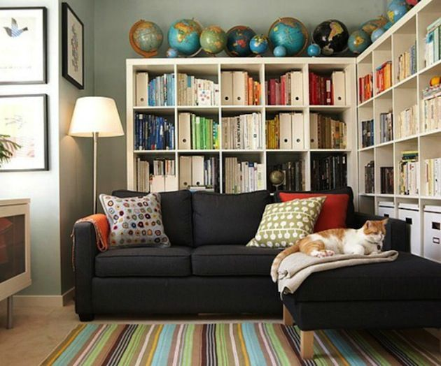 Love The Shelves Behind The Sofa But Different Color Theme See The Ikea Expedit Shelving Used In Other People S Homes Design You Home Home Living Room Decor
