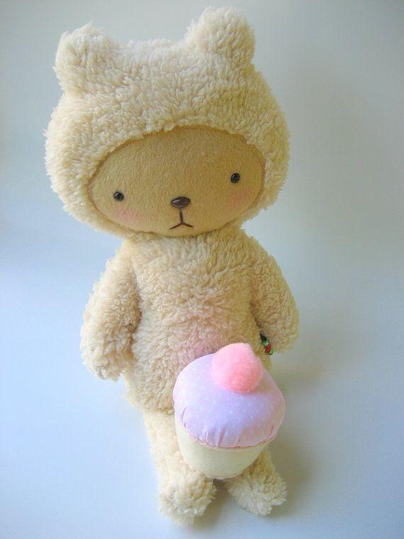 Kawaii Teddy Bear Plushie in Cream Cuddle Sherpa Large LUC | muñecas ...