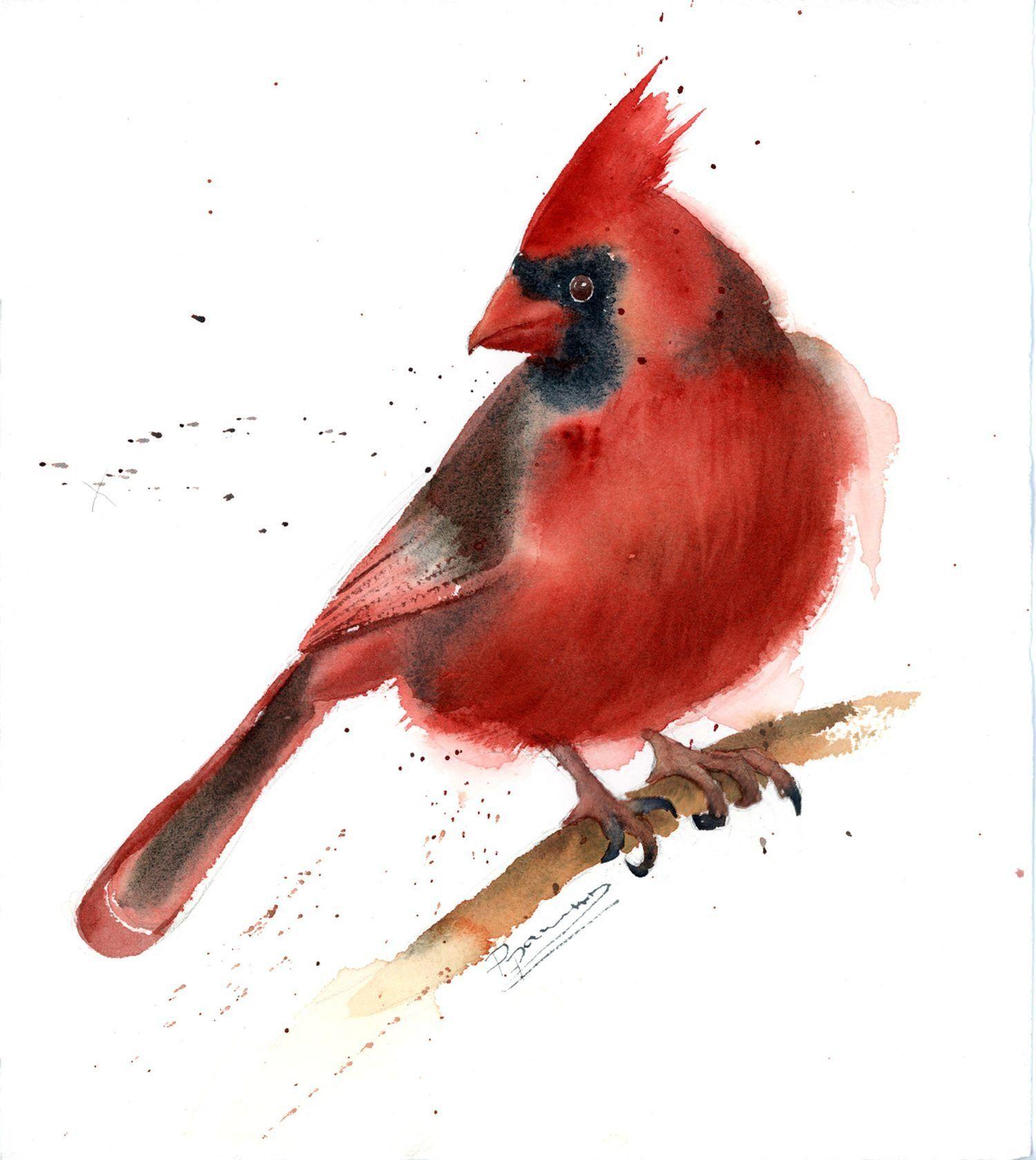 Cardinal Painting Original Watercolor American Red Winter Bird