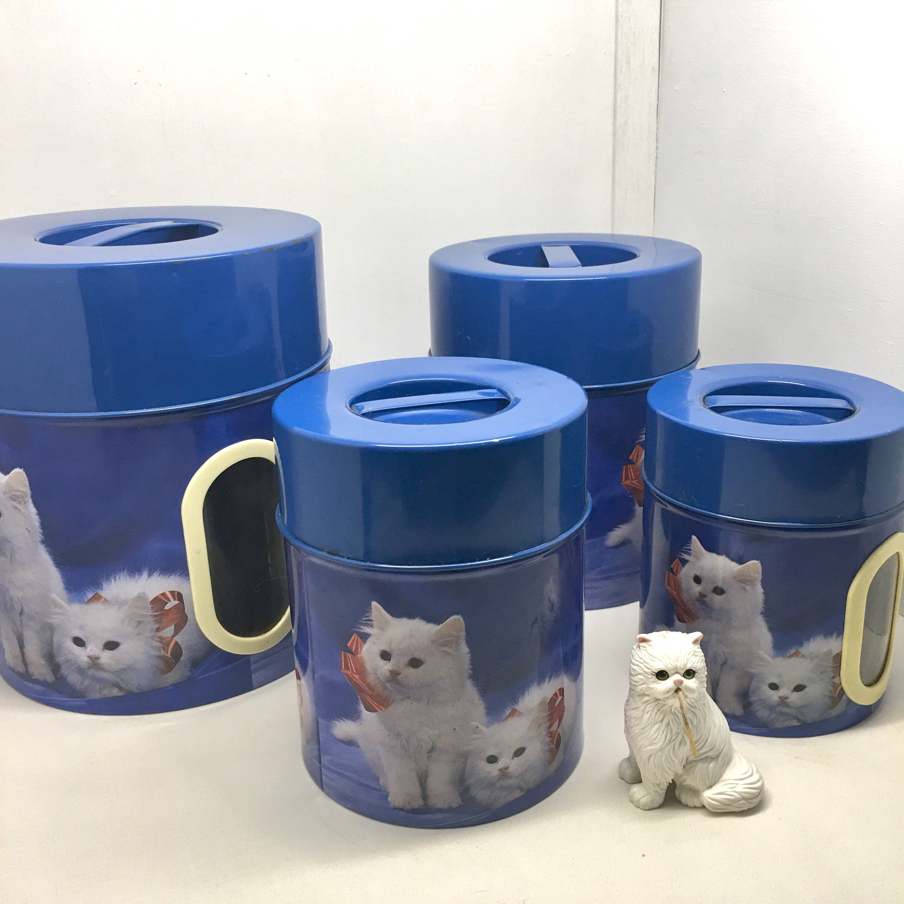 Your Place To Buy And Sell All Things Handmade White Kittens Canisters Metal Canisters