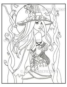 halloween coloring page of a witch flying on her broom free - Free Witch Coloring Pages