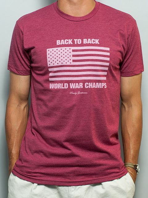 db389807 Rowdy Gentleman Back to Back World War Champs Vintage T-Shirt Cardinal Red  — The Squire Shop
