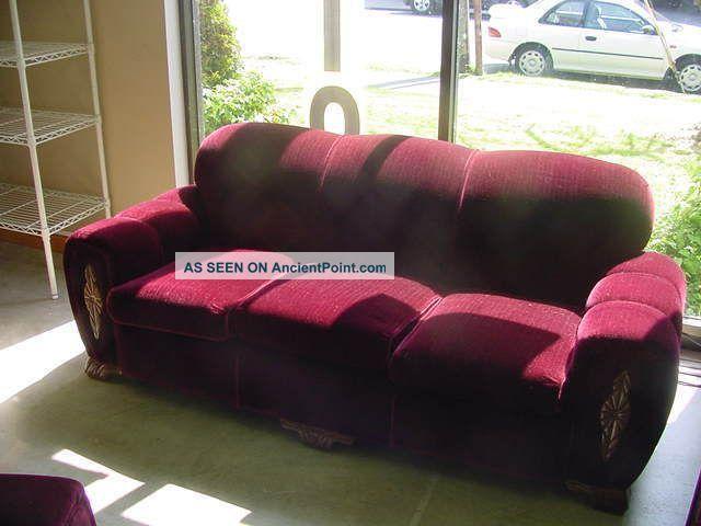 Vintage Sears Dubonnet Elmwood Mohair Sofa 1900 1950 Photo