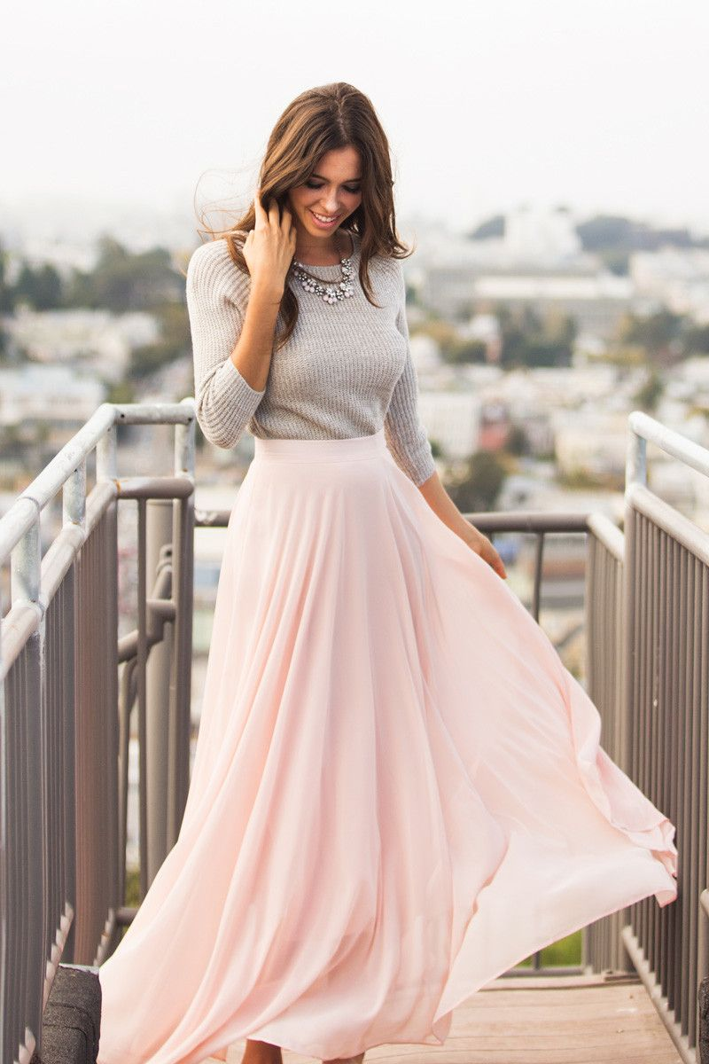 Amelia Full Pink Maxi Skirt | I love, Grey sweater and Grey