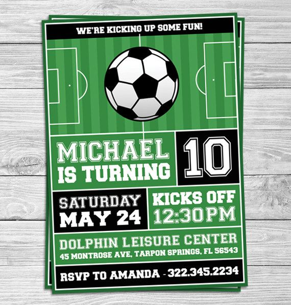 Custom Soccer Football Kids Printable Party Invitations By Prints Online