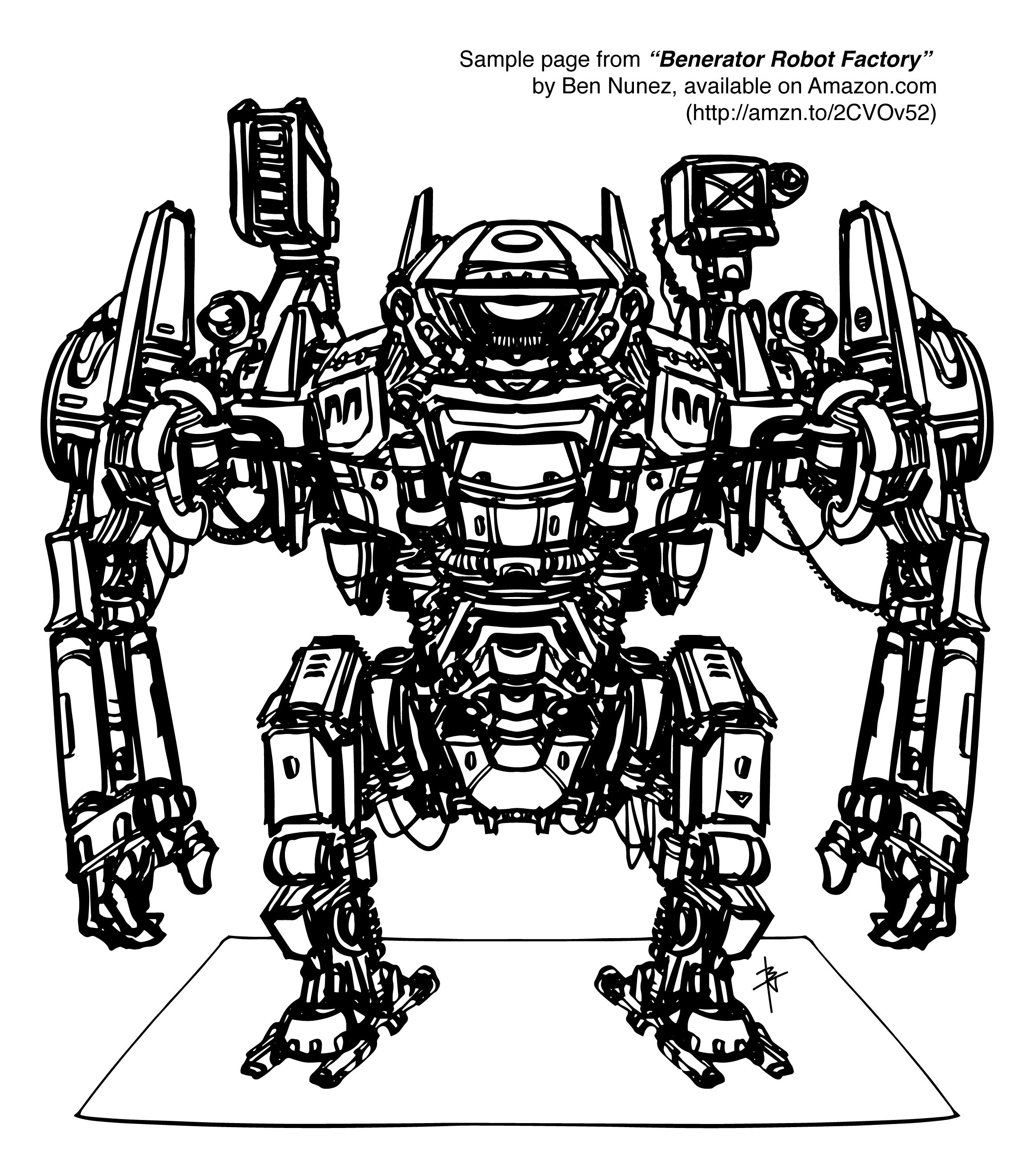 Sample Page from my 1st robot coloring book, \