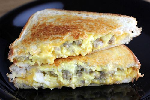 Sausage And Egg Grilled Cheese Recipe Blogchef Recipe Grilled Cheese Recipes Breakfast Brunch Recipes Yummy Breakfast