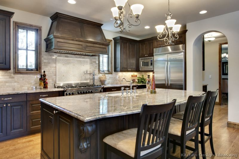 Traditional Dark Wood Walnut Kitchen Cabinets 64 Kitchen Design