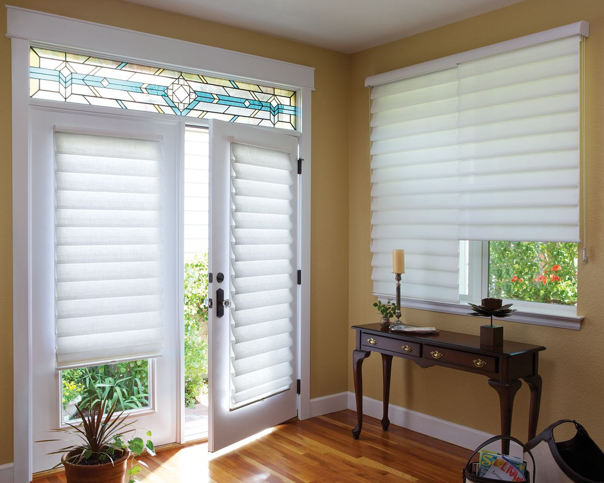 Vignette Traditional Modern Roman Shades Coordinate Well On Horizontal Windows And Vertical Doo Shades For French Doors Patio Door Shades French Door Curtains