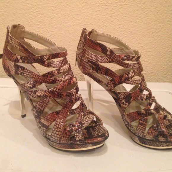 a8fc51f0ca Multi-snake JLo Vivien high heel sandals Gorgeous heels with zipper on back  very comfortable from Jennifer Lopez line at Kohls. Almost new only Worn  twice ...