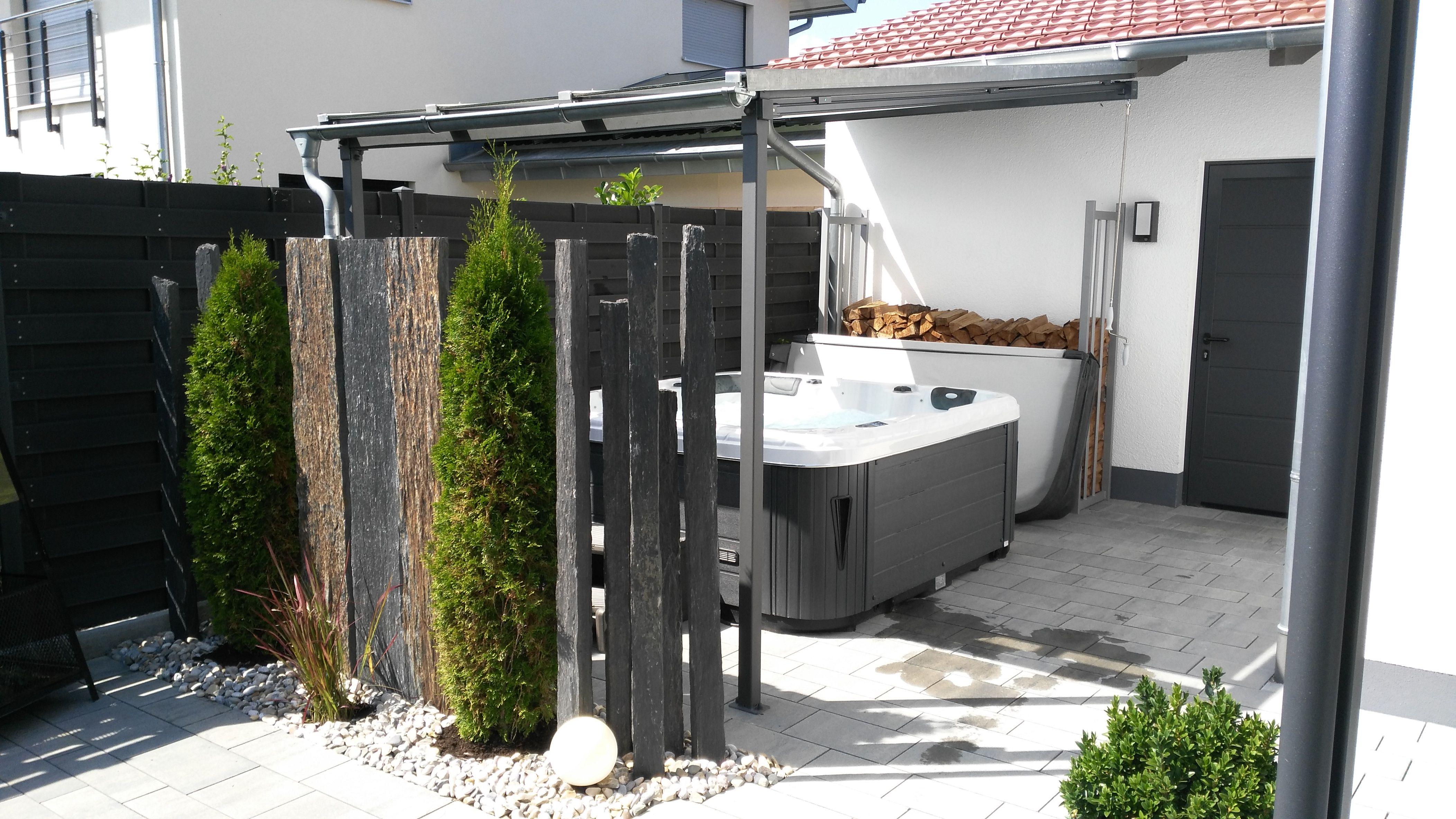Schieferbretter 130 Whirlpool Terrasse Schiefer Aussengestaltung