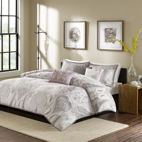 Update your space with the soft look of Madison Park Samir. The tonal purple and greys in this updated paisley design provide a cozy getaway in your space. Printed on 200 thread count cotton, this beautiful collection includes three decorative pillows with embroidery and fabric manipulation to pull this entire look together.